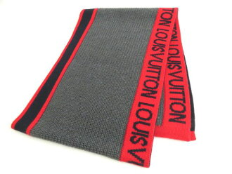 09de8c4ff3 With unused article ● M71255 Louis Vuitton echarp LV generation wool scarf  / knit scarf gray X red regular article box
