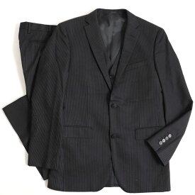 【中古】美品▽バーバリーブラックレーベル ストライプ柄 3ピース シングルスーツ ブラック 92-76-170 38R 正規品 メンズ ビジネス◎