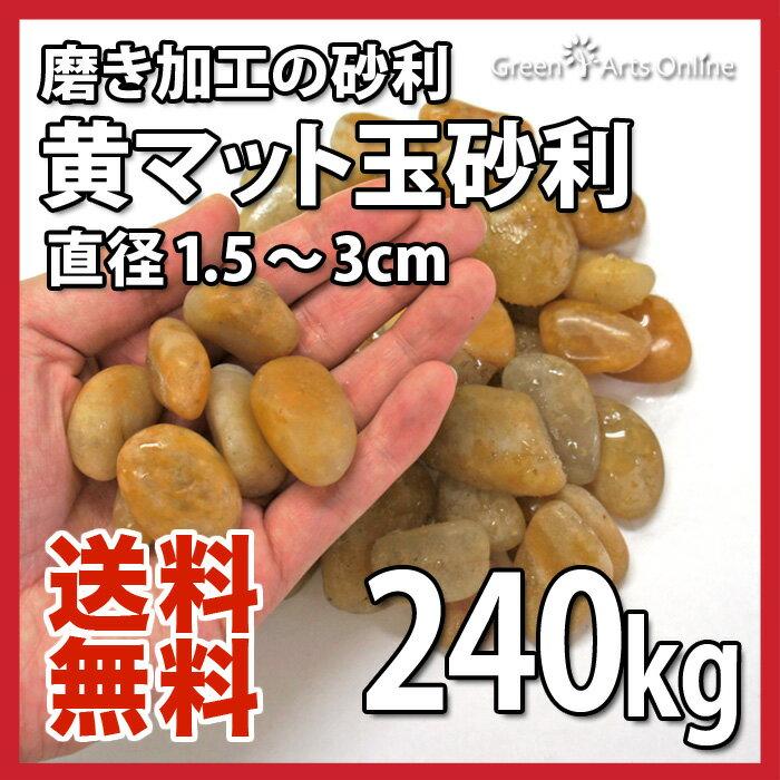 【アウトレット市場】黄マット玉砂利 / 約1.5〜3cm / 240kgセット