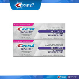 Crest 3D White Brilliance mint Toothpaste, 4.1oz pack of 2 クレスト 3Dホワイトブリリアンス ミント116g 2本 ホワイトニング歯磨き粉 ホワイトニング 白い歯 虫歯予防 追跡不可メール便