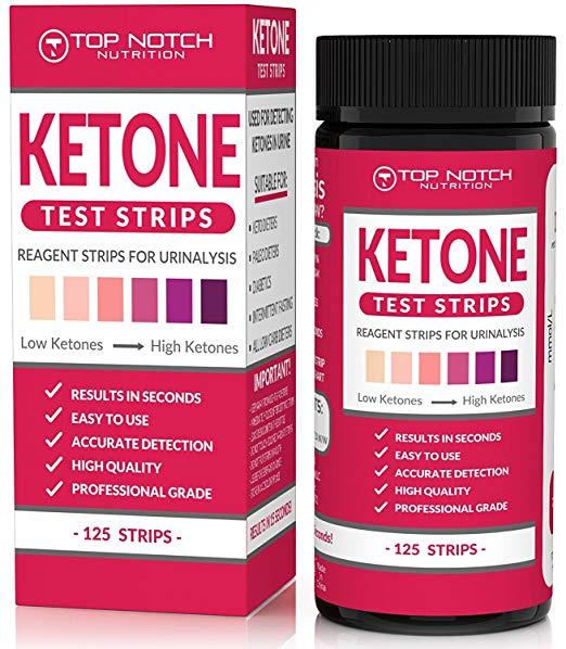 TOP NOTCH NUTRITION Ketone Test Strips 125 枚入り ケトン体 ケトン 試験紙 尿検査 ケト スティック ケトダイエット 検査 ケトン ケトーシス ダイエット 糖質制限