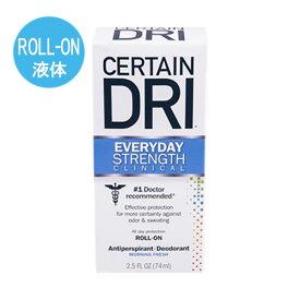 【海外メール便】サーテンドライ CERTAIN DRI everyday strength ROLL-ON ロールオン 液体 タイプ  74ml わき汗 汗止め 制汗剤 海外製品 ワキガ 匂い 汗対策 Deodorant Antiperspirant デオドラント パースピレックス