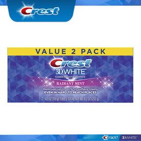 【4日間限定☆値下げ】【エクスプレス便】 Crest 3D White Radiant Mint 116g pack of 2  クレスト 3Dホワイト ラディアントミント 4.1oz 2本  ホワイトニング歯磨き粉 ホワイトニング 白い歯