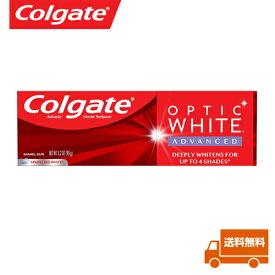【海外メール便】 ※新パッケージ コルゲート Colgate OPTIC white Advanced Teeth Whitening PACK OF 1 ホワイト 90g 1本 ホワイトニング 歯磨き粉 海外直送 白い歯