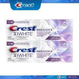 【4日間限定☆値下げ】【エクスプレス便】 Crest 3D White Brilliance mint Toothpaste, 4.1oz pack of 2 クレスト 3Dホワイトブリリアンス ミント116g 2本 ホワイトニング歯磨き粉 ホワイトニング 白い歯 虫歯予防