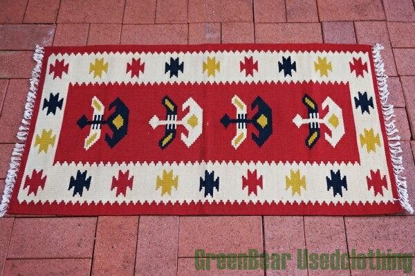 【USED】ウール絨毯 玄関マット 110×58cm 赤×アイボリー【RAG015】【中古】
