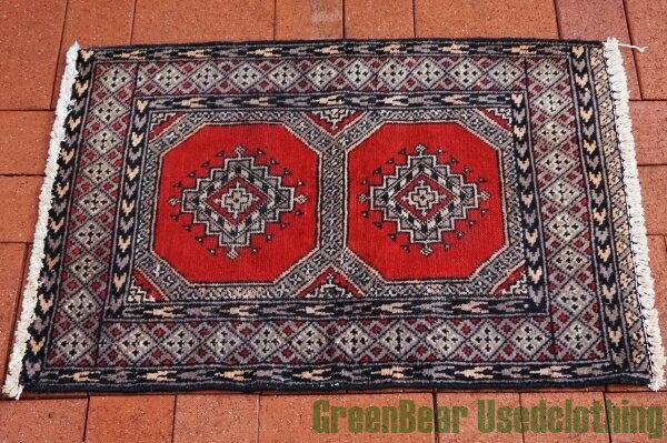 【USED】ウール絨毯 玄関マット 57×85cm 赤×グレー【RAG017】【中古】