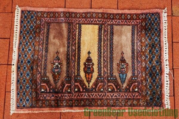 【USED】ウール絨毯 玄関マット 45×61cm ブラウン×ブルー×ピンク【RAG025】【中古】