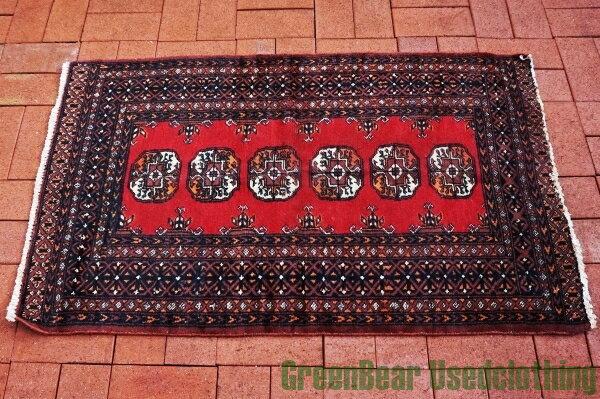 【USED】ウール絨毯 トライバルラグ 130×79cm 赤×茶【RAG040】【中古】