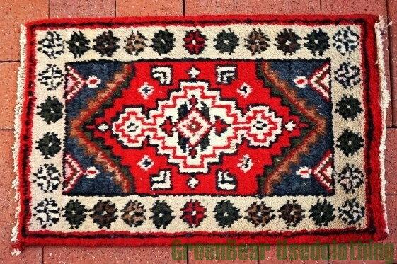 【USED】ウール絨毯 玄関マット 37×58cm 赤×紺【RAG077】【中古】