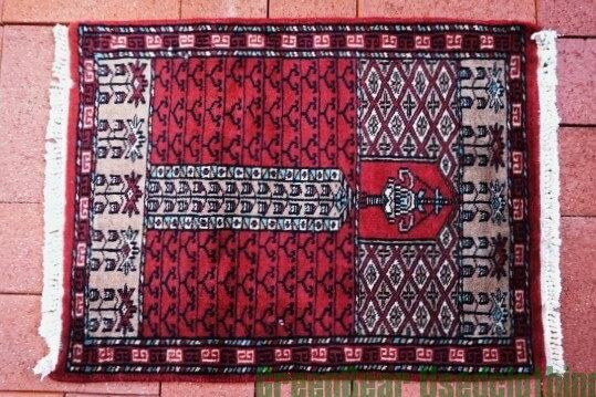 【USED】ウール絨毯 玄関マット 44×59cm 赤×茶【RAG079】【中古】