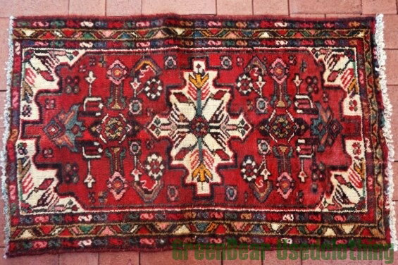 【USED】ウール絨毯 トライバルラグ 70×110cm 赤×アイボリー【RAG097】【中古】
