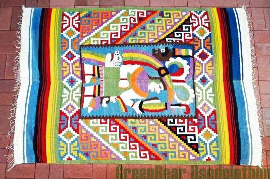 【USED】ウール絨毯 コットンキリム 137×198cm マルチカラー【RAG120】【中古】