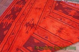 【USED】ウール絨毯 コットンキリム 162×220cm 赤×オレンジ【RAG122】【中古】