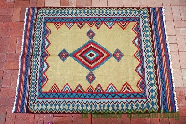 【USED】ウール絨毯 コットンキリム 144×195cm ブルー×イエロー【RAG126】【中古】