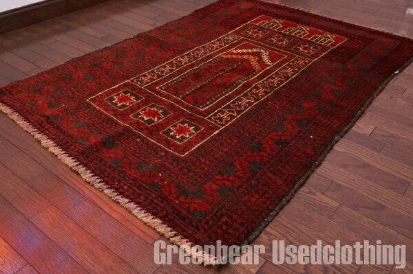【USED】ウール絨毯 トライバルラグ 95×140cm 赤×茶【RAGB046】【中古】