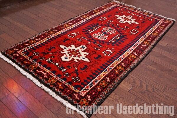 【USED】ウール絨毯 トライバルラグ 75×136cm 赤×紺【RAGB051】【中古】