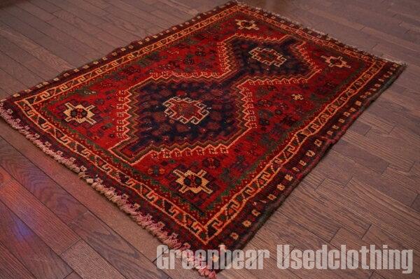 【USED】ウール絨毯 トライバルラグ 80×113cm 赤×紺×緑【RAGB050】【中古】