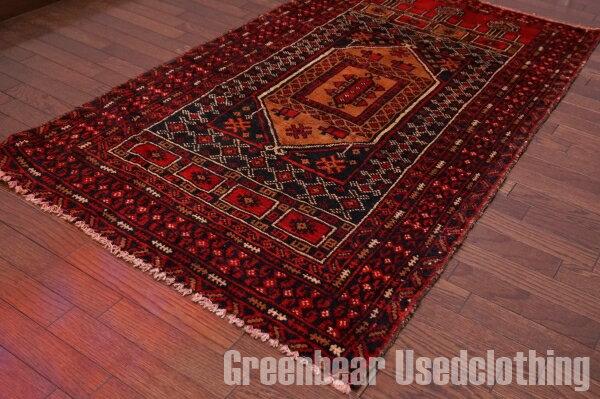 【USED】ウール絨毯 トライバルラグ 88×155cm 赤×茶×黒【RAGB049】【中古】