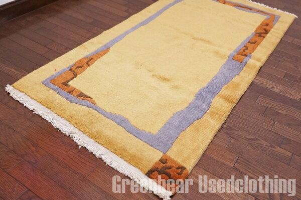 【USED】ウール絨毯 トライバルラグ 76×147cm マスタード×ブルー【RAGB045】【中古】
