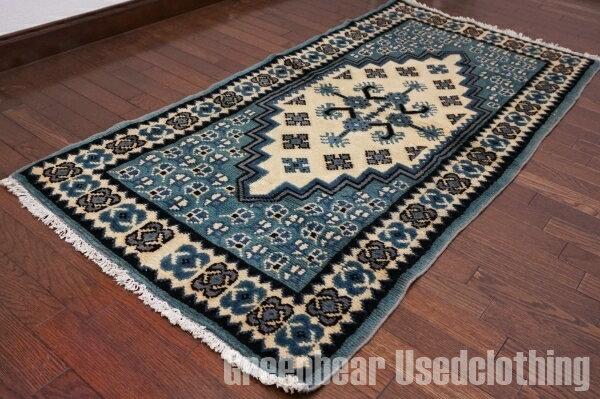 【USED】ウール絨毯 トライバルラグ 75×154cm ブルー×アイボリー【RAGB040】【中古】