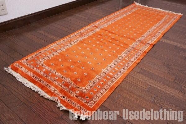 【USED】ウール絨毯 トライバルラグ 64×186cm オレンジ【RAGB036】【中古】