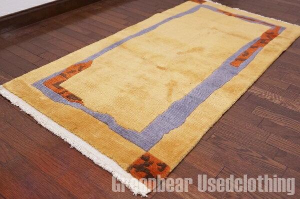 【USED】ウール絨毯 トライバルラグ 76×147cm マスタード×ブルー【RAGB033】【中古】