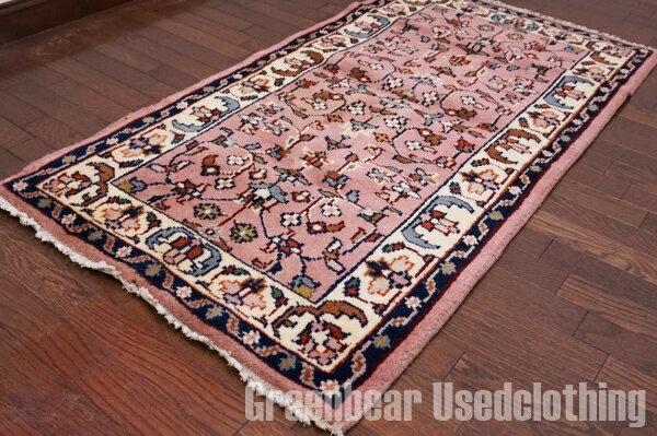 【USED】ウール絨毯 トライバルラグ 73×135cm ピンク×ベージュ【RAGB030】【中古】