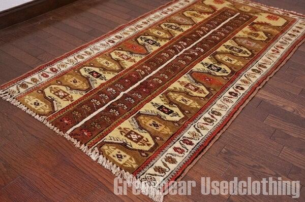 【USED】ウール絨毯 トライバルラグ 78×146cm ブラウン×カーキ【RAGB025】【中古】