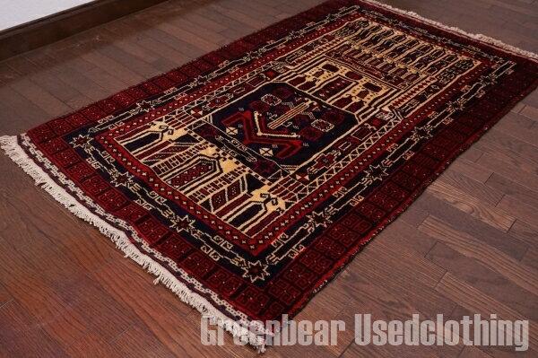 【USED】ウール絨毯 トライバルラグ 81×139cm 赤×紺【RAGB024】【中古】