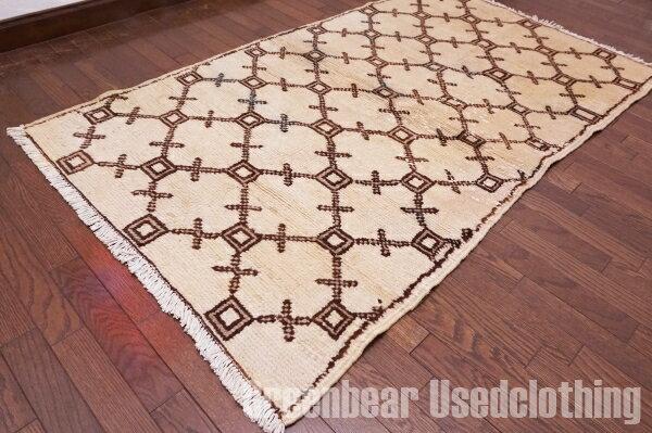 【USED】ウール絨毯 トライバルラグ 97×160cm ベージュ×茶【RAGB023】【中古】