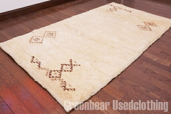 【USED】ウール絨毯 トライバルラグ 82×158cm ベージュ【RAGB022】【中古】