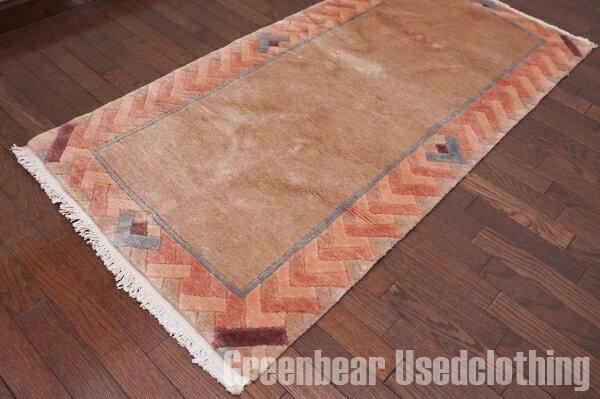 【USED】ウール絨毯 トライバルラグ 73×144cm ピンクベージュ【RAGB011】【中古】