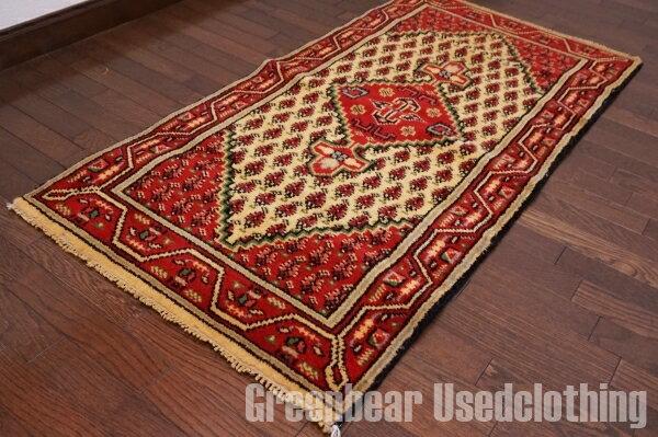 【USED】ウール絨毯 トライバルラグ 70×135cm 赤×ベージュ【RAGB016】【中古】