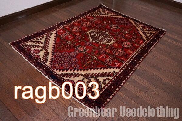 【USED】ウール絨毯 トライバルラグ 108×160cm 赤×ベージュ【RAGB003】【中古】