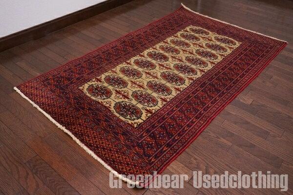【USED】ウール絨毯 トライバルラグ 94×147cm 赤×ベージュ【RAGB010】【中古】