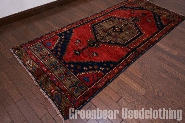 【USED】ウール絨毯 トライバルラグ 78×194cm 赤茶×紺【RAGB007】【中古】
