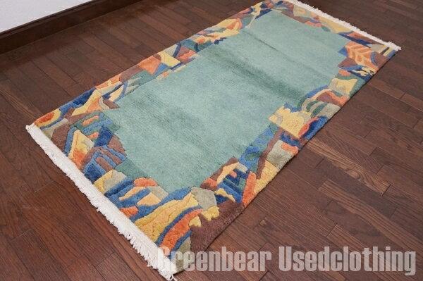 【USED】ウール絨毯 トライバルラグ 70×138cm グリーン×ブルー【RAGB006】【中古】