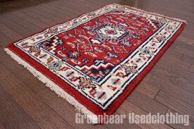 【USED】ウール絨毯 トライバルラグ 59cm×90cm 赤×アイボリー【RAGB084】【中古】