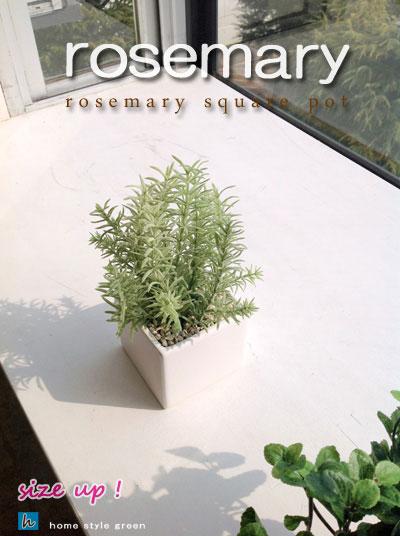 四角鉢にローズマリーミディアム鉢フェイクグリーン人工観葉植物インテリアグリーン北欧雑貨造花キッチン