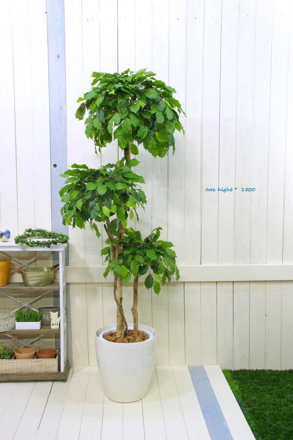 ベンジャミントピアリートリプル高さ1.5m/光触媒付送料無料東京工房受注生産出荷ご注文後14営業日以内発送予定(土日祝日除)日時時間指定不可代引決済不可フェイクグリーン人工観葉植物造花