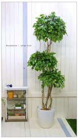 フェイクグリーン ベンジャミントピアリートリプル高さ1.8m 大型 人工観葉植物 観葉 植物 光触媒付 人工植物 インテリアグリーン インテリア おしゃれ プランター イミテーショングリーン 造花 鉢植え リアル 幹 枝