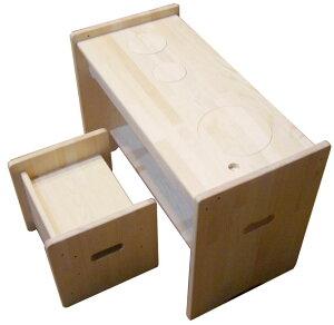 木遊舎(MOKUYUSYA) 1台2役!机にも変身するお得な子供家具【おままごとキッチン+ちびっ子チェア・ステップ4セット】木製【完成品】お絵かき机・子供デスク・椅子・キッズテーブル・イス4つ