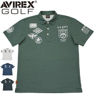 アヴィレックス ゴルフ メンズ ウェア 鹿の子 ワッペン風 半袖 ポロシャツ AVXBA1-15SS 2021年春夏モデル M-XXL 【あす楽対応】