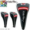 キースヘリング ゴルフ ドライバー用 / フェアウェイウッド用 / ユーティリティ用 ヘッドカバー Holding Heart KHHC-02