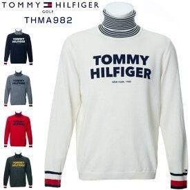 トミーヒルフィガー ゴルフウェア ロゴ タートルネック ニットセーター THMA982 2019年秋冬モデル M-XL 【あす楽対応】