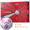 Callaway CHROME SOFT TRUVIS シェブ ボール ホワイト/ピンク キャロウェイ クロムソフト トゥルービス 2ダースパック ゴルフボール