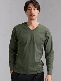 [Rakuten Fashion]CMオーガニッククリアVネック長袖Tシャツ UNITED ARROWS green label relaxing ユナイテッドアローズ グリーンレーベルリラクシング カットソー Tシャツ カーキ ホワイト ブラック ベージュ レッド