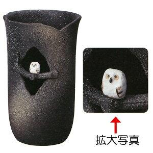 【日本製】 木のりふくろうソリ型傘立 全高41cm×幅25.5cm 信楽焼 しがらきやき 陶器製 国産品 傘立て 傘入れ レインラック 玄関収納 インテリア