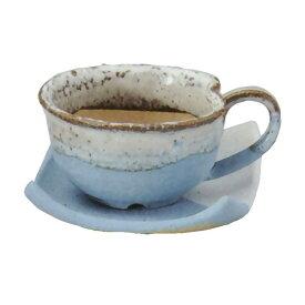 【日本製】 植木鉢 コーヒーカップ 皿付 ブルー 3.5号 信楽焼 しがらきやき 陶器製 陶器鉢 焼き物 底穴あり プランター ポット 器 園芸